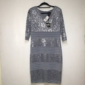 Melanie Lyn Blue Lace cocktail Dress